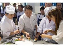 Japanische Sushi-Meister unter sich: Hirotoshi Ogawa, Takashi Okumura und Yoshizumi Nagaya