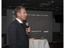Jonas Lundin, vd STCC AB, under förra veckans Kick Off inför säsongen 2017. Foto: Micke Fransson/STCC