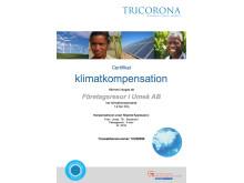 Certifikat Klimatkompensation Företagsresor i Umeå