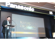 Mr. Hiroyoshi Suga introducing the Panasonic Glass Door Refrigerator
