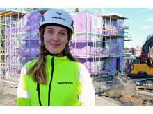 Linnéa Arvidsson är arbetsledare på projektet Hossaberget i Öjersjö utanför Partille.
