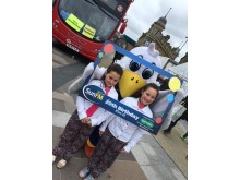 Go North East bus and twins meet Sunny