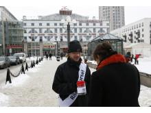 Magnus Ivarsson samlade in pengar till Haiti på Medborgarplatsen