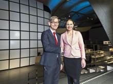 Peter Skogh, Tekniska museets museidirektör och Jessica Alm, kommunikationsdirektör, Sandvik