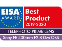 EISA Award Sony FE 400mm F2.8 GM OSS
