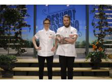 Det blir skånsk seger för femte året i rad i Dessertmästarna – antingen helskånsk eller skånsk med en smak av Norrland. Malin Haak och David Knutsson är i final. Foto: Kanal 5