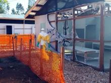 Ebolacentret i Katwa, Kongo-Kinshasa, efter attacken.