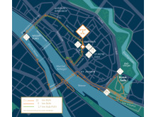 Die Strecke durch Bremen: Die Sportler laufen zunächst über die Obernstraße durch die Innenstadt und Am Brill nach links zur Weser.