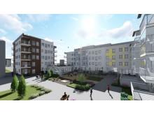 3D-bild av kvarteret Iris på Gävle strand