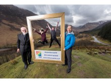 John Fotheringham, Scott Armstrong, Jodie Fraser and Chris O'Neill launch OCUK's new campaign in Glen Nevis