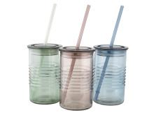 Glass ALF Ø8x14cm w lid and straw assorted (25 DKK pr stk)
