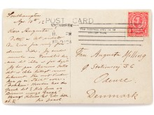 Handwritten and signed postcard from Jacob Christian Milling, passenger on the Titanic. Estimate:  DKK 30,000-50,000 (€ 4,000-6,700).