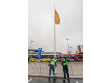 Flaggresning av nya Vällingby Centrum flaggorna