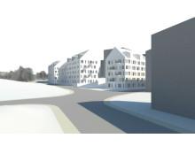 Visionsbild av hur den kommande byggnationen kan komma att se ut i Aspudden. Bild: Arkitema