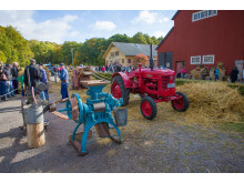 Gamla jordbruksredskap visas på Tjolöholms skördefest, foto Thomas Carlén