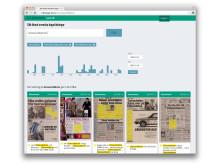 Exempel på visning av KB:s nya söktjänst i digitaliserade dagstidningar