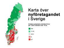 Karta över nyföretagandet i Sverige