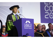 Minister Chan Chun Sing delivering speech at LASALLE Convocation