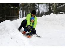 Kjelkekjøring på Barnas vinterdag
