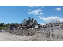 Mussalon voimalaitosrakennus räjäytyksne jälkeen