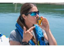Hi-res image - Ocean Signal - Ocean rower Lia Ditton, pictured with her Ocean Signal rescueME PLB1, is supporting 406Day