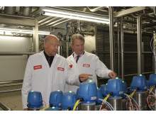 Theo Müller Snr and Owen Paterson Having a Tour of the Butter Plant