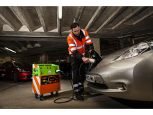 RAC's first mobile charger charging a Nissan Leaf