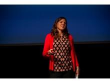 Sofia Antonsson från Luleå energi berättade om deras satsning på en solcellspark med 3000 dubbelsidiga paneler