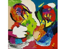 "Karel Appel: ""Landschappelijke mensen"", 1974. Sold for: DKK 480.000 (EUR 84,000 including buyer's premium)."