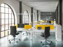 Gute Aufteilung: Wer im Büro fit bleiben möchte, kann die Arbeitsräume so gestalten, dass man sich automatisch viel bewegen muss und viel Freiraum hat, wie das Bild des Herstellers Palmberg mit dem Schreibtisch Sinac verdeutlicht.