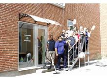 Rengøringassistenter fra Forenede Service i en pause fra deres rengøringskursus