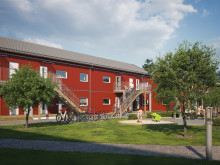 Illustration av entrésida med gemensam grönyta och lekplats, BoKlok Mellstagården i Borlänge.
