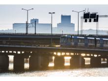 Stockholms tunnelbana i solnedgång