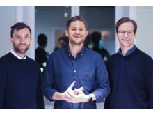 Grundare Alva Labs från vänster grundare Björn Ström, grundare och vd Malcolm Brestam samt grundare Peter Schierenbeck