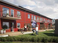 Illustration av trädgårdssida med altaner, balkonger och gräsytor, BoKlok Mellstagården i Borlänge.