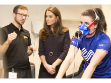 The Duchess of Cambridge, Patron of SportsAid, talks to a GSK scientist at the Human Performance Lab