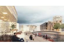 Illustrert ideskisse av fremtidens Vestre Havn