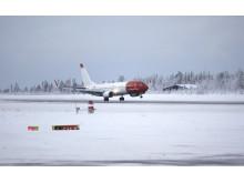 Norwegianin ensimmäinen lento Lontoon Gatwickistä Rovaniemelle laskeutui 2.12.2016