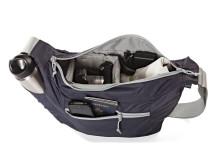 Lowepro Photo Sport Shoulder Bag 12L, öppen med utrustning