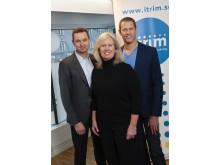 Anders Lindgren, styrelseordförande och medgrundare Itrim, Martin Anderlind VD och medgrundare Itrim och Jill Kinney, amerikansk entreprenör som tar Itrim till USA