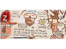 "Jean-Michel Basquiat, ""Hollywood Africans in Front of the Chinese Theater with Footprints of Movie Stars"". Utrop 450 000 - 600 000 SEK."