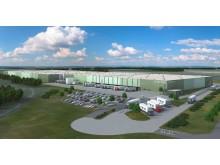 Logistikzentrum von Chal-Tec im LogPort Duisburg (Visualisierung)