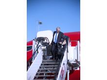 Bjørn Kjos ankommer Oslo i Norwegians første Boeing 737 MAX-fly