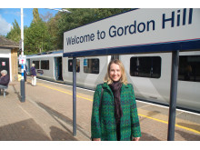 Samantha Radford, from Gordon Hill, who travelled on the first passenger service from Moorgate to Gordon Hill