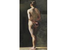 Marie Krøyer: Rygvendt mandlig model.