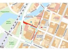 Karta ledningsflytt mm inför bygget av Kulturkvarteret