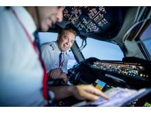 Flight Deck på Norwegians Boeing 787 Dreamliner