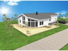 A-hus villa Vinga med sammanbyggt garage