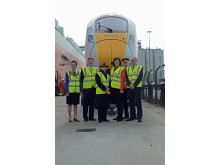 Rail Minister Claire Perry MP welcomes arrival of first Hitachi pre-series Class 800 train for Intercity Express Programme