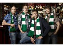 Pelle, Hasse Hansson, Jocke och Pedda i Café Bärs.